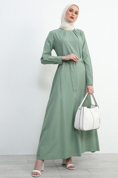Refka Su Yeşili Kemerli Elbise