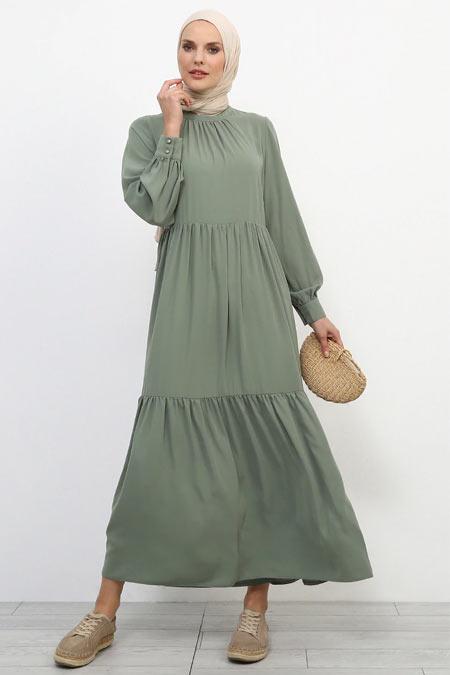 Refka Yeşil Balıkçı Yaka Elbise