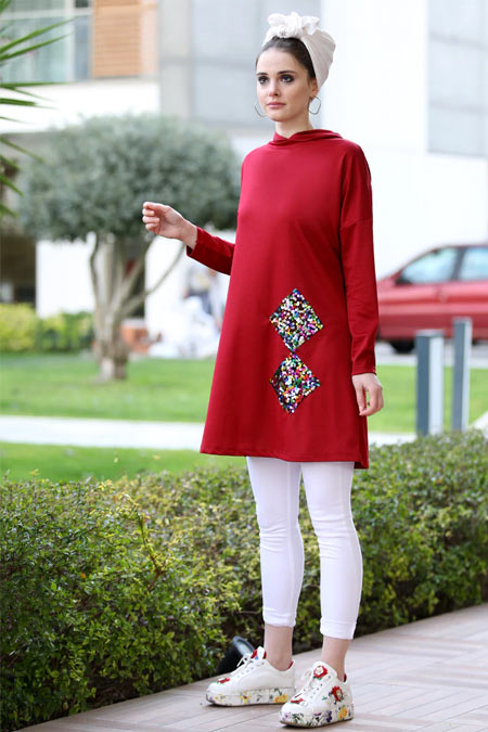 Selma Sarı Design Bordo Renkli Payet Detaylı Tunik