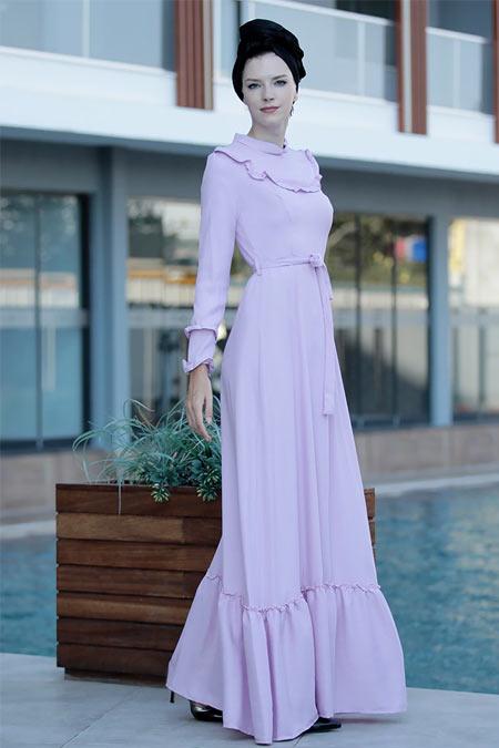Selma Sarı Design Lila Doğal Kumaş Keten Elbise