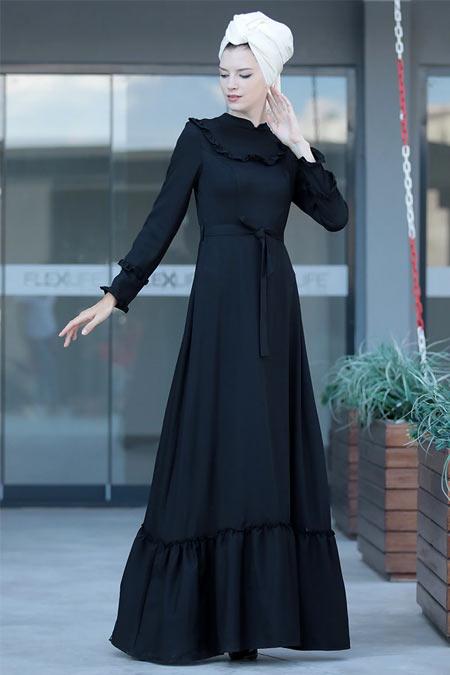 Selma Sarı Design Siyah Doğal Kumaş Keten Elbise