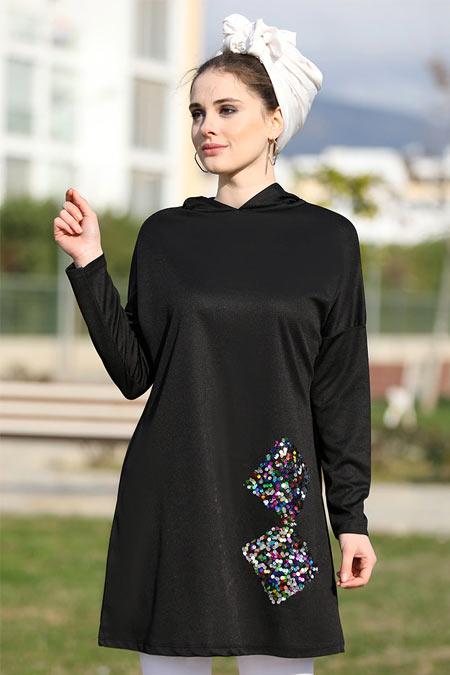 Selma Sarı Design Siyah Renkli Payet Detaylı Tunik