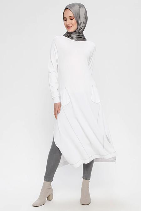 TIĞ TRİKO Ekru Gümüş Cep Detaylı Elbise
