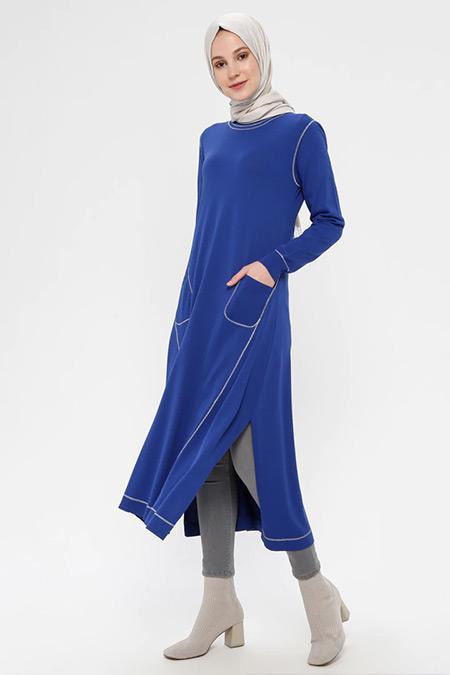 TIĞ TRİKO Saks Cep Detaylı Elbise