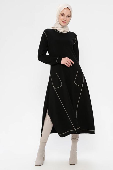 TIĞ TRİKO Siyah Gold Cep Detaylı Elbise