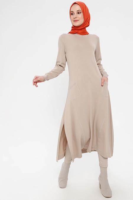 TIĞ TRİKO Vizon Cep Detaylı Elbise
