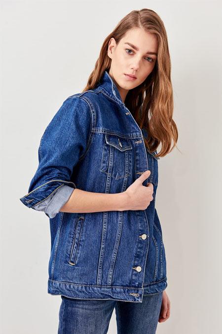 TRENDYOLMİLLA Mavi Basic Denim Ceket