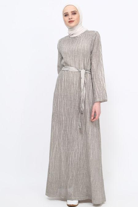 Tavin Gri Yıkamalı Doğal Kumaşlı Elbise