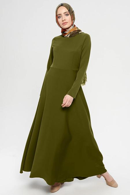 İLMEK TRİKO Haki Düz Renk Uzun Elbise