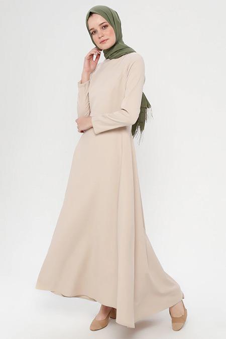İLMEK TRİKO Taş Düz Renk Uzun Elbise