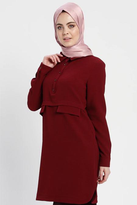 Alesya By Tuğba Bordo Sivri Yakalı Tunik