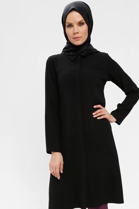 Alesya By Tuğba Siyah Gizli Düğmeli Tunik