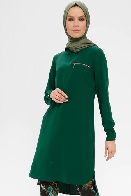 Alesya By Tuğba Yeşil Fermuarlı Tunik