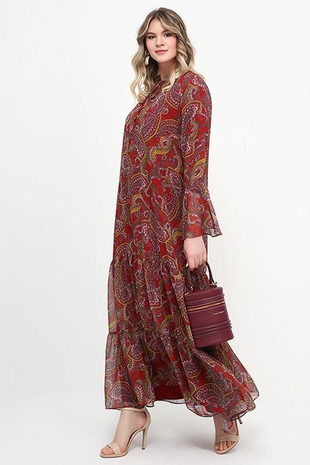 Alia Bordo Şal Desenli Elbise