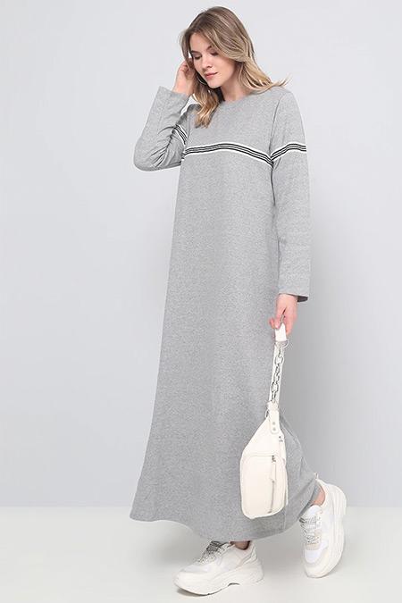 Alia Gri Doğal Kumaşlı Spor Elbise