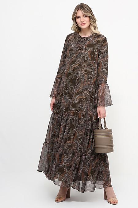 Alia Haki Şal Desenli Elbise