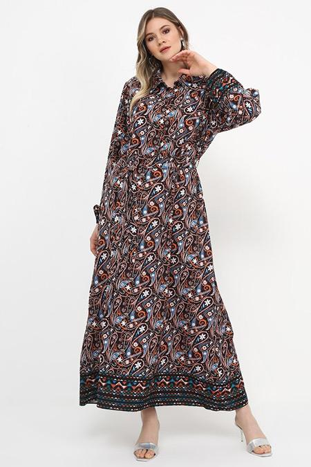 Alia Kahverengi Şal Detaylı Şifon Elbise