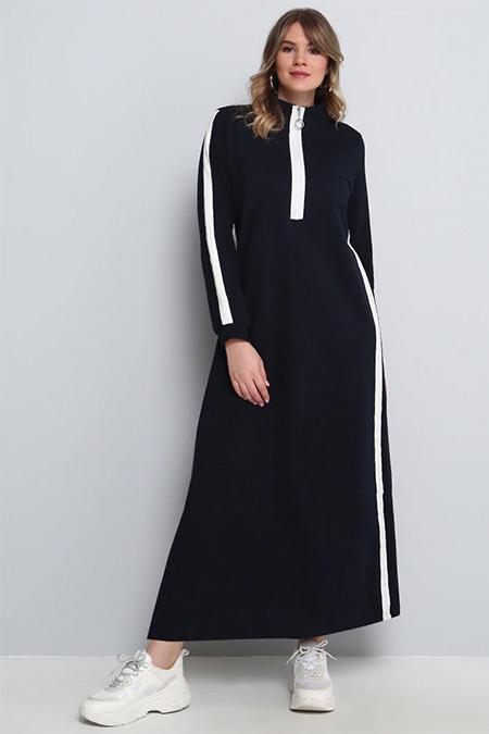 Alia Lacivert Beyaz Uzun Spor Elbise