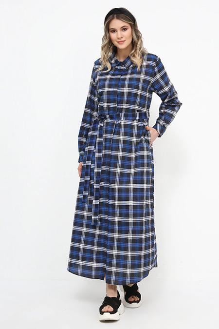 Alia Mavi Çizgili Desenli Elbise