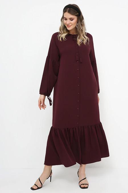 Alia Mor Eteği Volanlı Elbise