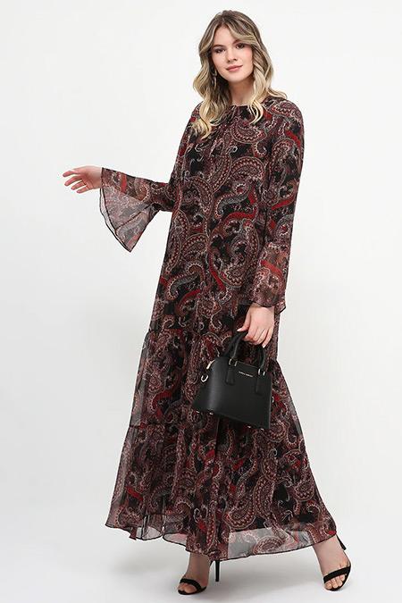 Alia Siyah Şal Desenli Elbise
