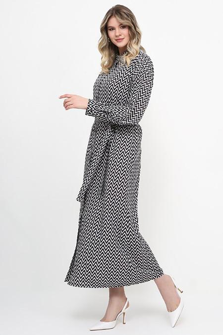 Alia Siyah Beyaz Boydan Düğmeli Elbise