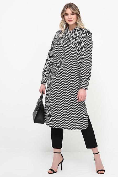Alia Siyah Beyaz Düğme Detaylı Tunik