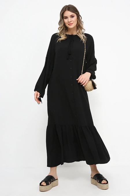 Alia Siyah Eteği Volanlı Elbise