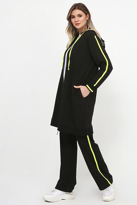 Alia Siyah Neon Sarı Eşofman Takımı