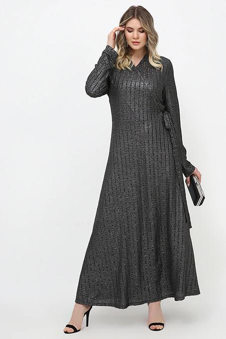 Alia Siyah Simli Anvelop Abiye Elbise
