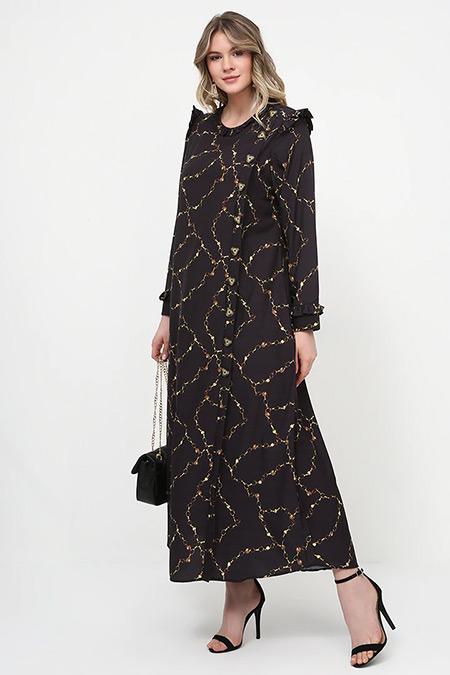 Alia Siyah Zincir Desenli Elbise