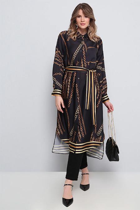 Alia Siyah Zincir Desenli Tunik