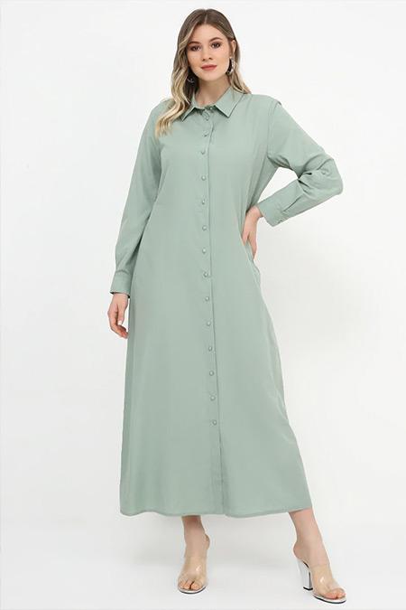 Alia Su Yeşili Boydan Düğmeli Elbise