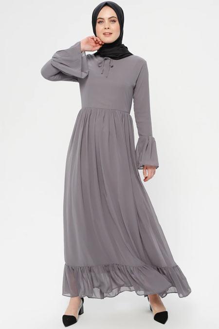 BÜRÜN Gri Şifon Detaylı Elbise