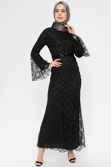 BÜRÜN Siyah Dantel Abiye Elbise