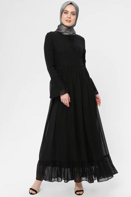 BÜRÜN Siyah Şifon Detaylı Elbise
