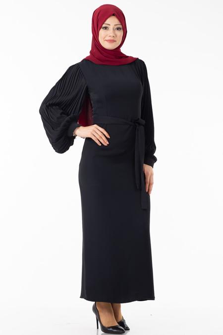 Siyah Balon Kol Piliseli Tesettür Elbise
