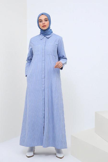 Benin Açık Mavi Doğal Kumaşlı Çizgili Elbise