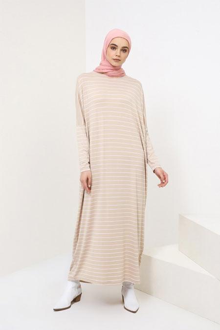 Benin Bej Doğal Kumaşlı Salaş Elbise