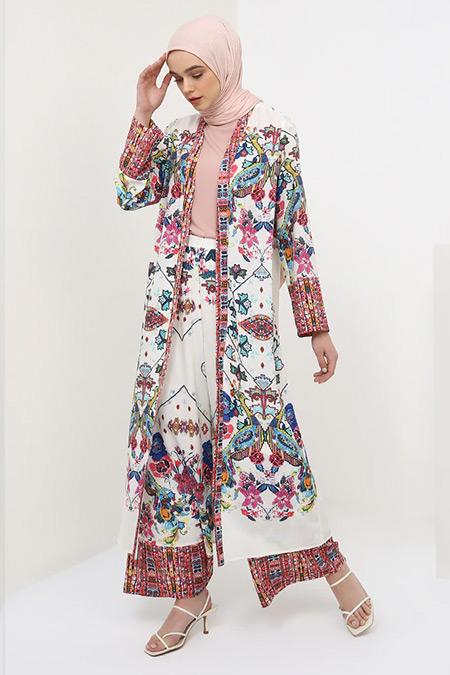 Benin Ekru Desenli Kimono
