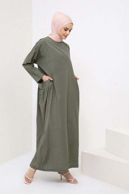 Benin Haki Cep Detaylı Pamuklu Elbise