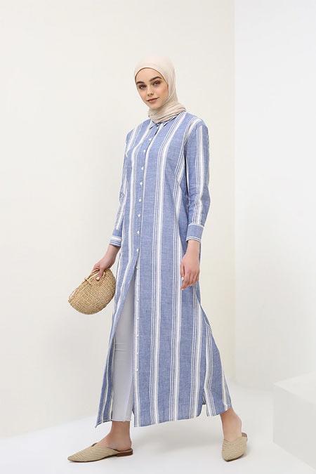 Benin Lacivert Doğal Kumaşlı Düğmeli Elbise