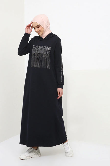 Benin Lacivert Drop Baskılı Kapüşonlu Elbise