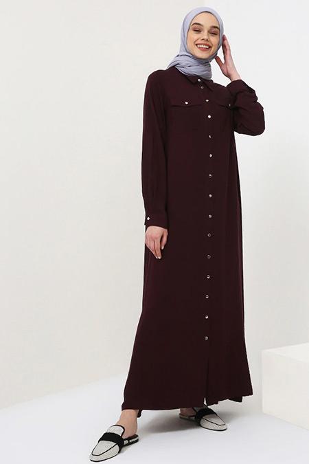 Benin Mürdüm Doğal Kumaşlı Boydan Düğmeli Elbise