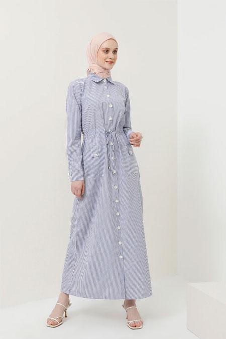 Benin Mavi Boydan Düğmeli Beli Bağcıklı Elbise