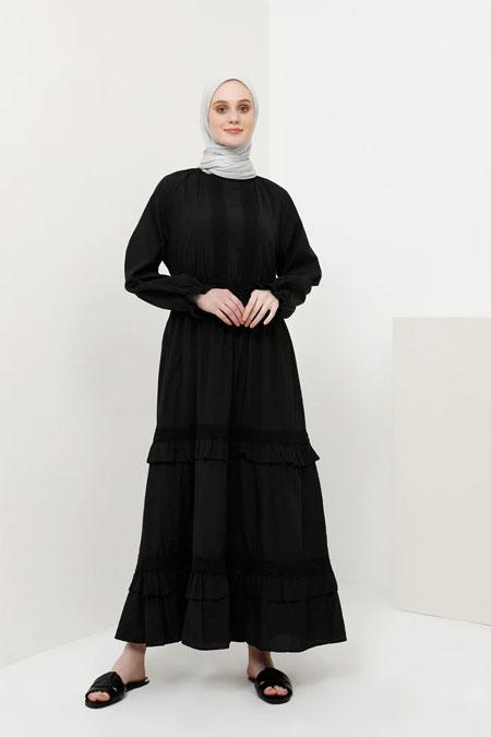 86ea89b0105d1 Gamze Özkul Ekru Vintage Dantel Detaylı Abiye Elbise. 344.99 TL. Benin  Siyah Dantel Detaylı Pamuklu Elbise