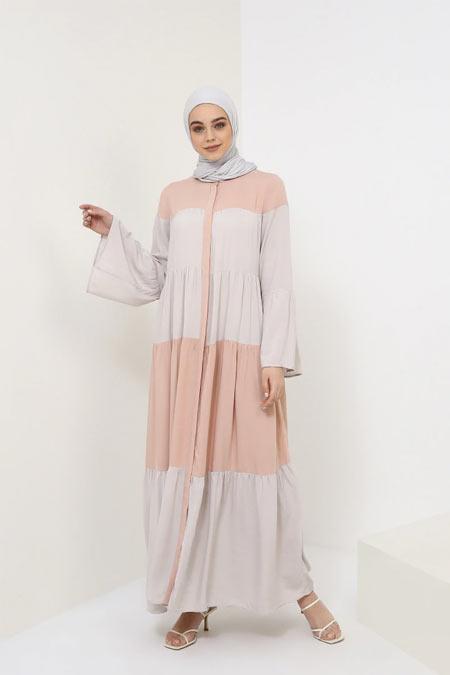 Benin Soft Pembe Doğal Kumaşlı Garnili Elbise