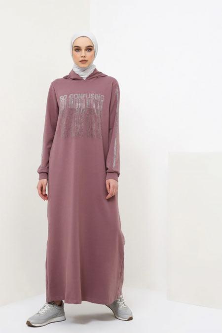 Benin Toprak Drop Baskılı Kapüşonlu Elbise