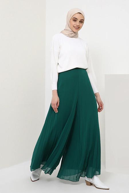 Benin Yeşil Piliseli Şifon Pantolon