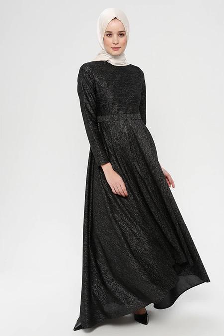 Bislife Siyah Kendinden Pırıltılı Elbise